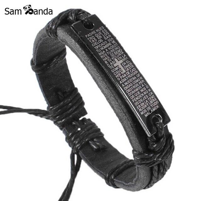 Drop Shippping New Fashion Men Jewelry Jesus Cross Leather Bracelets & Bangles W