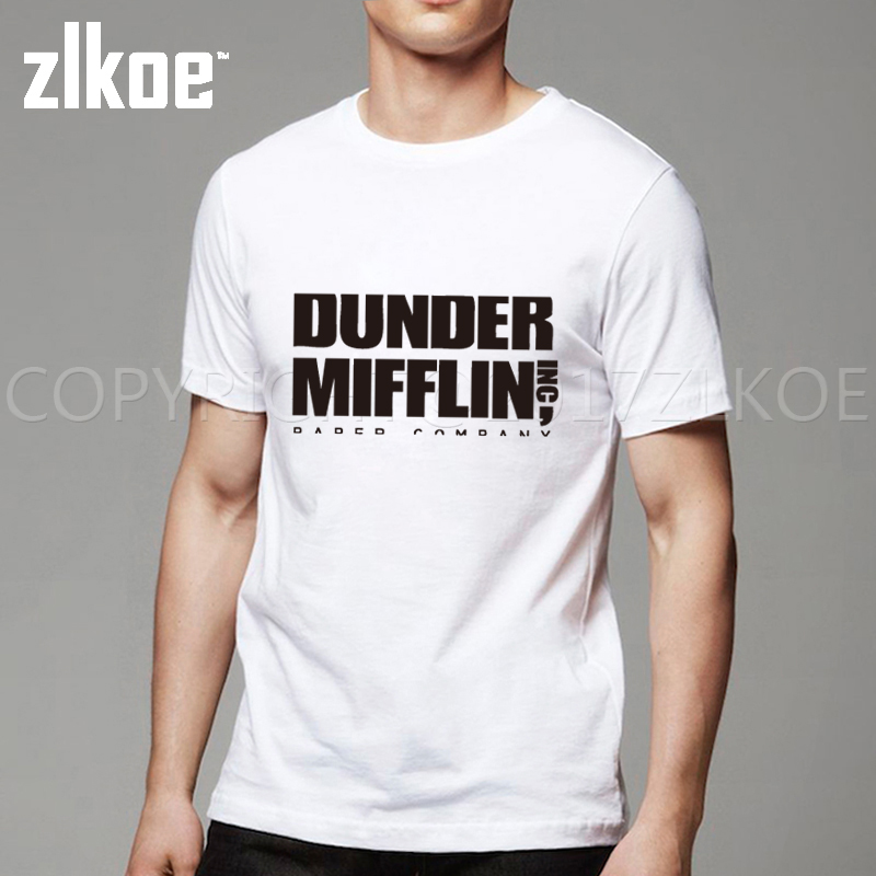 Company T Shirt Design Short The Office TV Show Dunder Mifflin T Shirt  Paper Crew Neck