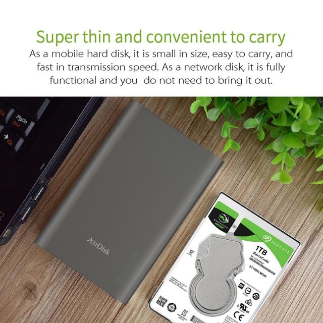 Airdisk T2 Móvel disco rígido de rede USB3.1 Família Rede Cloud Storage 2.5 polegada Remotamente Inteligente Caixa de Disco Rígido Móvel (NÃO HDD)
