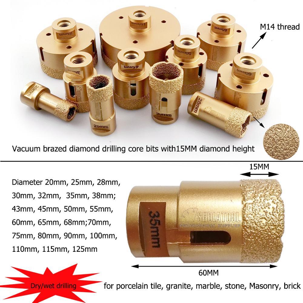 Holesaw Kit 20//35//38//43//50//60mm for Porcelain Ce... M14 Dry Diamond Drill Kit