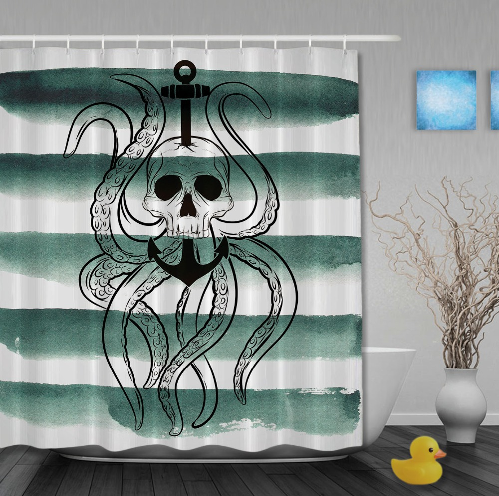 Jolly roger shower curtain - The Pirates Skull Anchor Shower Curtain Octopus Striped Bathroom Curtain Waterproof Polyester Fabric Custom Shower Curtains