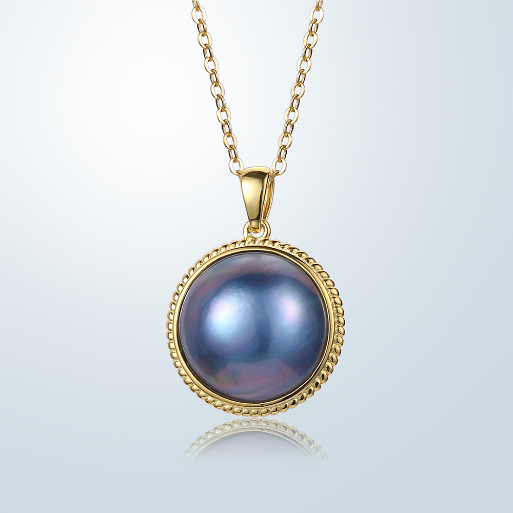 18 K Gold Blau Aurora Perle Halsketten 17-18mm Großen Blauen Perle Anhänger Halsketten Luxus Natürliche Süßwasser Perle Halskette Für Frauen