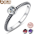 3 Colors Authentic 100% 925 Sterling Silver Ring Love Heart Ring Original Wedding Jewelry PA7107