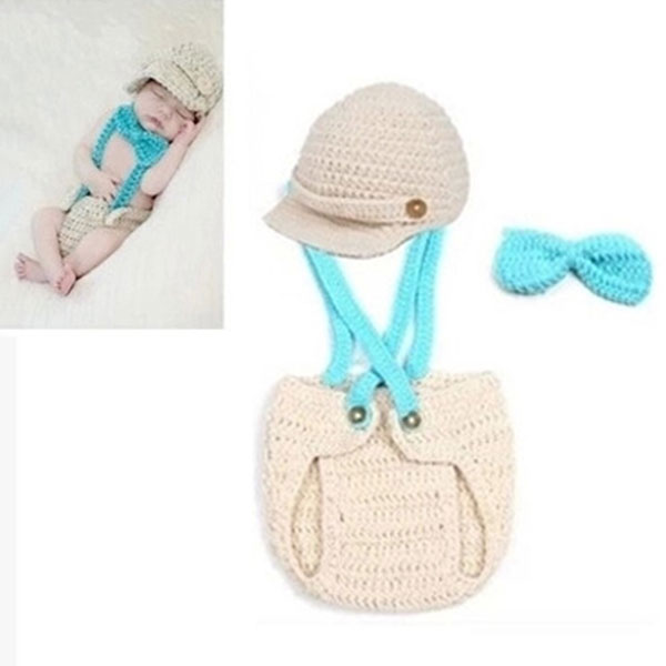 Baby's Sets Infant Baby Boys Knit Crochet Outfits Newborn Photography Hat Overalls Pilot Baby Clothing Set Photo Props YH-17 newborn baby photography props infant knit crochet costume peacock photo prop costume headband hat clothes set baby shower gift