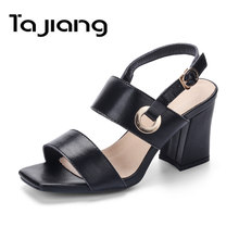 Ta Jiang Genuine Leather Cow Suede Women High Heels Summer Gladiator Sandals Classic Ladies Metal Buckle Dress Shoes Woman(China)