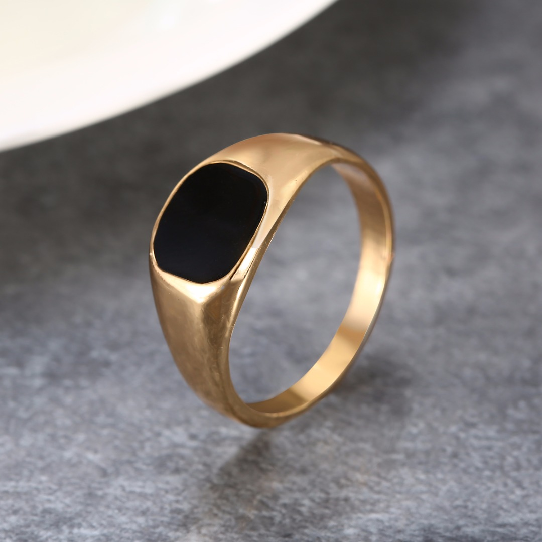 Shellhard Vintage Stainless Steel Ring Fashion Gold Silver Color Polished Signet Seal Biker  Finger Ring For Women Men Jewelry
