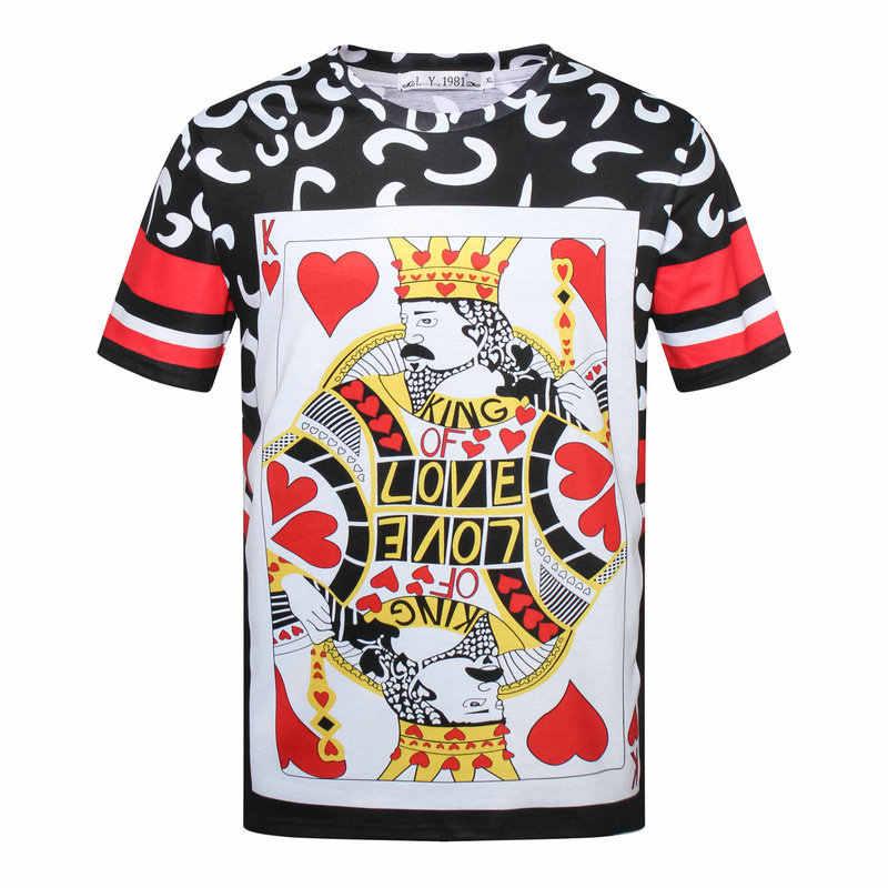 Английская Ретро футболка Homme Harajuku 3d Красный покер с сердцем роскошный принт