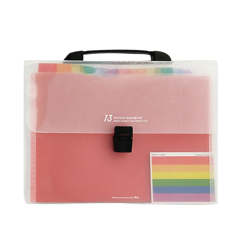 A4 & 13 Pockets File Folder Handheld Rainbow Color Accordion Expending Document Organizer Bag For School Office Supplies