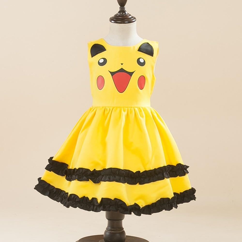 Girls Pikachu Costume Cute Ball Gown Dress Kids Child Lovely Dress Costume Anime Cosplay Pokemon Go Costume Birthday Party Dress