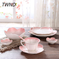 Japan style cherry blossom coffee mugs with tray spoon tea milk cups breakfast plate drinkware