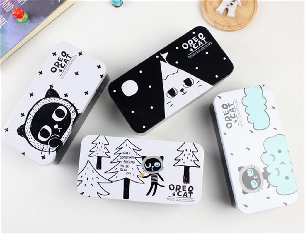 Hot 1PC 16.6*8.3cm Creative Black Cat Double Deck Tin Case Desktop Storage Box School Office Supply Adorable Gift Stationery cute cat pen holders multifunctional storage wooden cosmetic storage box memo box penholder gift office organizer school supplie