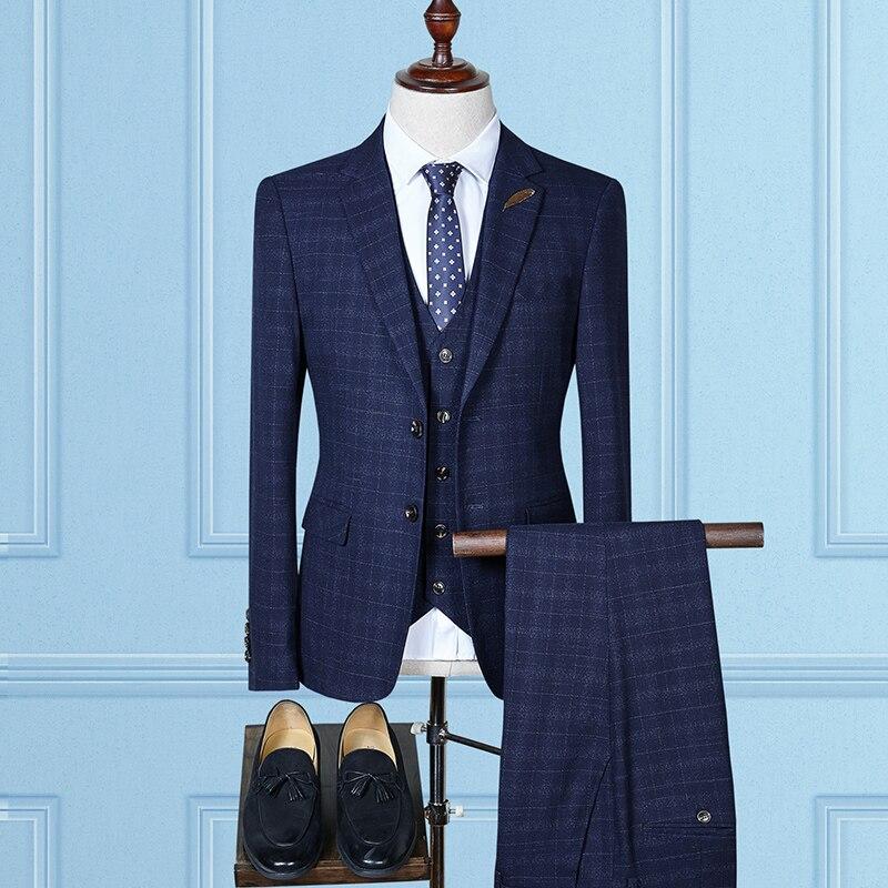 2018 Gentleman Men Suis Slim Fit Wedding Business Blazer Suit For Men 3 Psc(Jacket+Pants+Vest)Purple Elegant Mariage Homme S-4XL