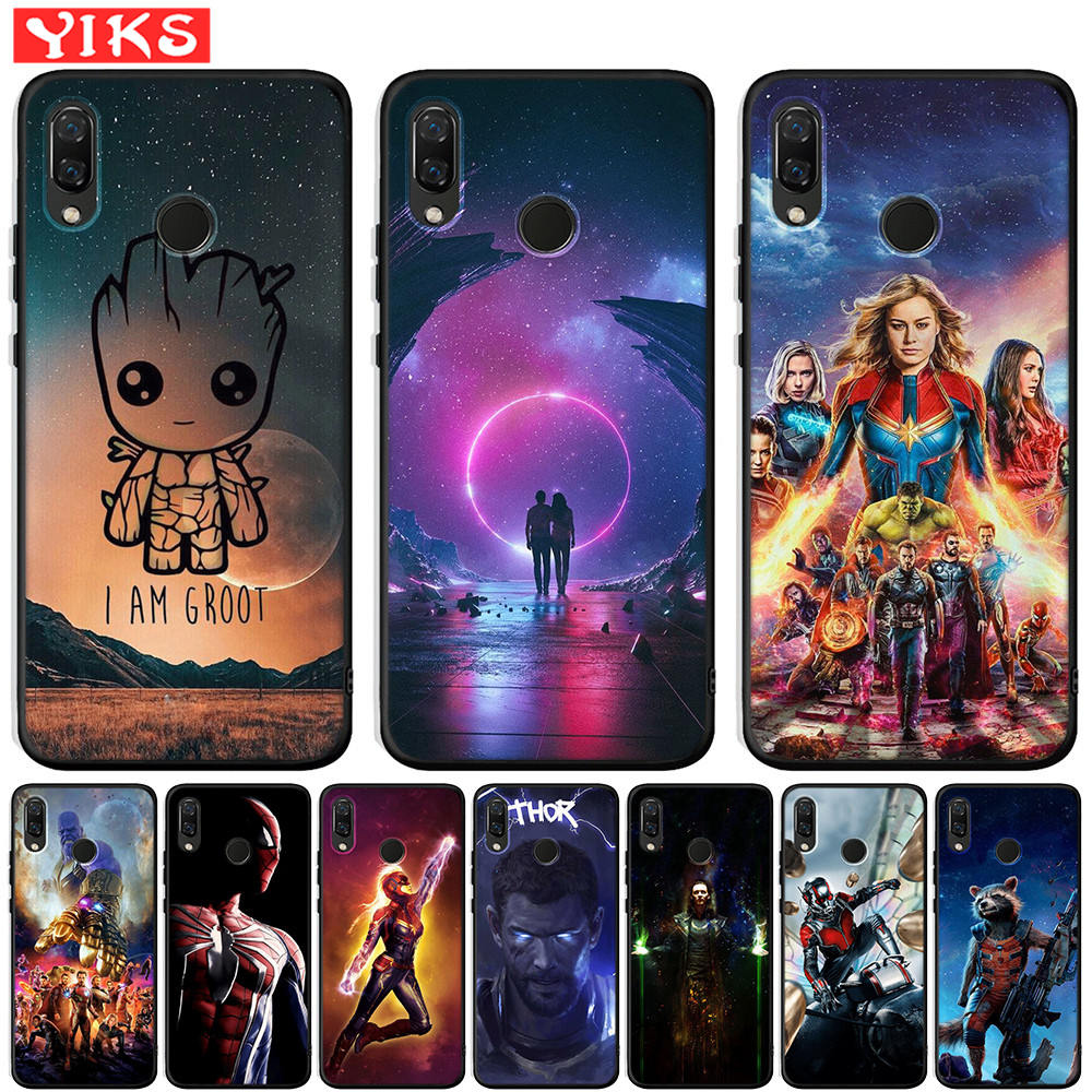 Marvel Starry Sky Case For Huawei Honor 20 Pro 10 9 9i 8 Lite 8X 8C 7A 7X V20 View 20 Black Silicone Cover Grrot Captain Coque