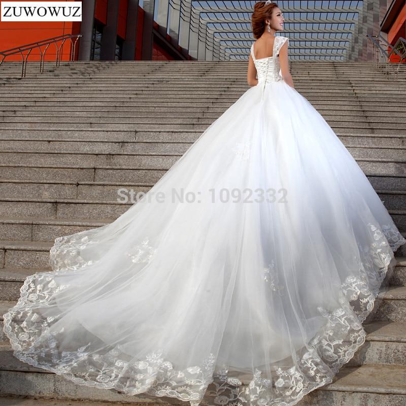Lager 2017 nya Plus-storlek kvinnor sexig vit kapell snörning diamant runda sling brudklänning brudklänning kristall lång svans 2321