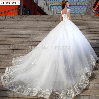 Stock 2017 New Plus size women Sexy White Chapel Lace Diamond Tube Top Sling wedding dress bridal gown crystal long tail 2321