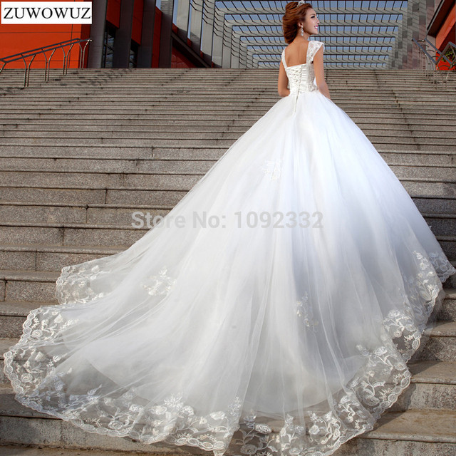 Stock 2017 New Plus Size Women Y White Chapel Lace Diamond Top Sling Wedding Dress