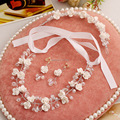 Bridal pearl jewelry sets handmade high-grade resin flowers wedding necklace earrings headwear three-piece jewelry sets