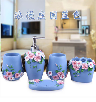 Bathroom Resin Five-piece Set Box Set Washing European Fashion Simple Bathroom and Bathroom Set New Wedding Box Set