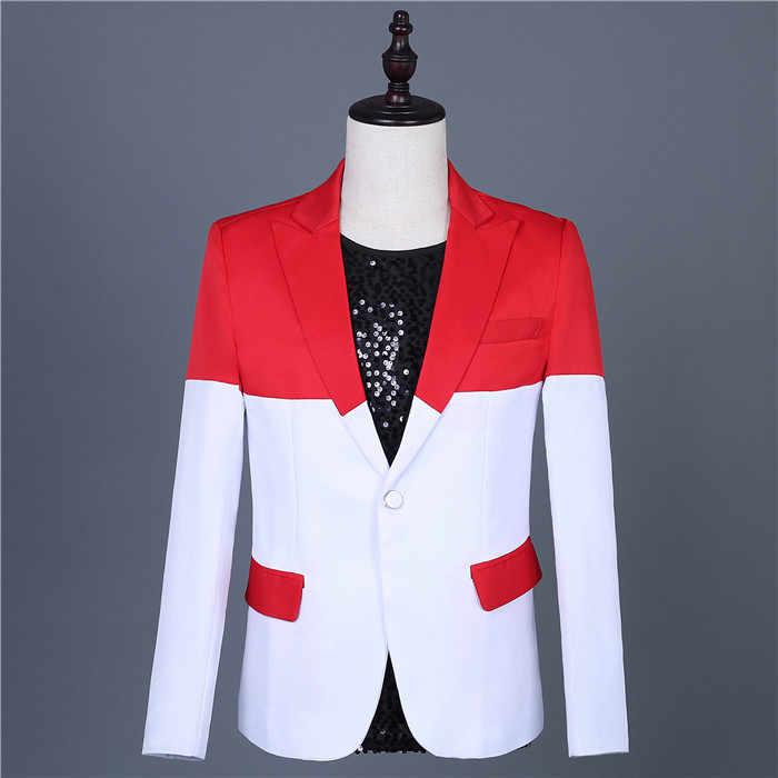 赤白のステッチブレザーセットワンボタンスリムフィットタキシードスーツ花婿の付添人ドレス歌手グループ性能衣装