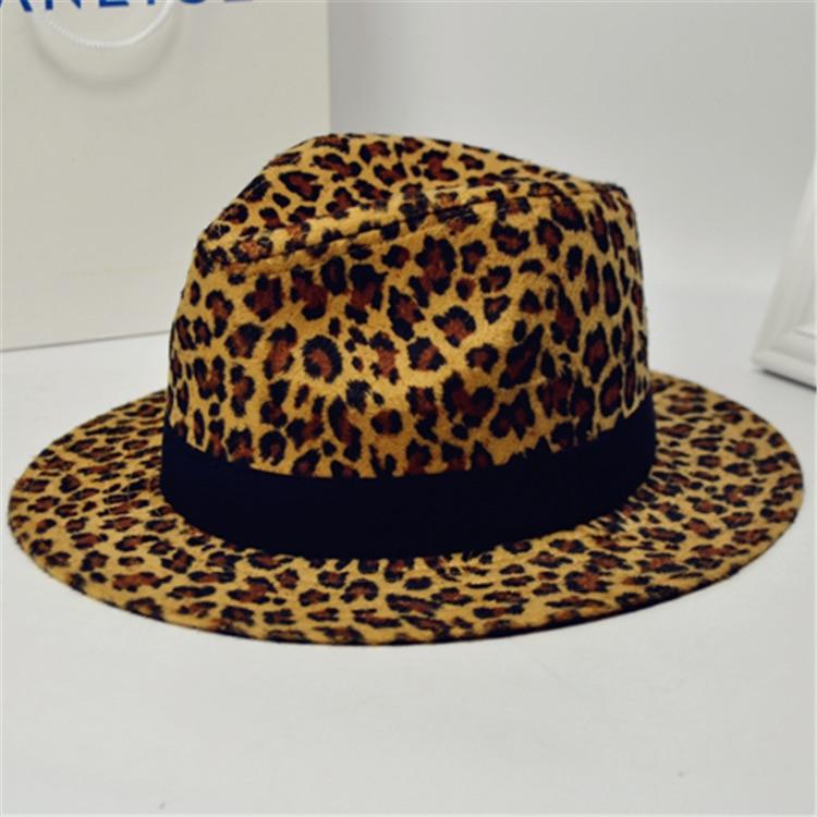 Fedora-Hats Trilby-Cap Panama-Hat Felt Brim Printing Vintage Fashion Women Flat-Top Leopard