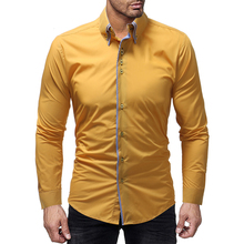 2018 new best selling men's shirts double-layer collar door edging men's casual slim long-sleeved shirt solid color long-sleeved