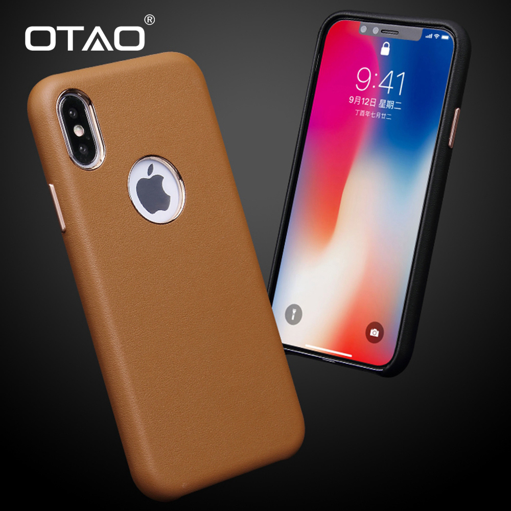 OTAO <font><b>Leather</b></font> Retro <font><b>Case</b></font> For <font><b>iPhone</b></font> X XS MAX XR <font><b>8</b></font> 7 Plus 6 6s Velvet <font><b>Case</b></font> <font><b>Logo</b></font> Hole <font><b>Case</b></font> For <font><b>iPhone</b></font> 8Plus Slim Shock Cover Fundas image