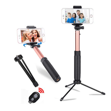 Wireless Bluetooth Selfie Stick with Rearview Mirror Shutter Remote Telescopic Tripod Set for Mobile Phone