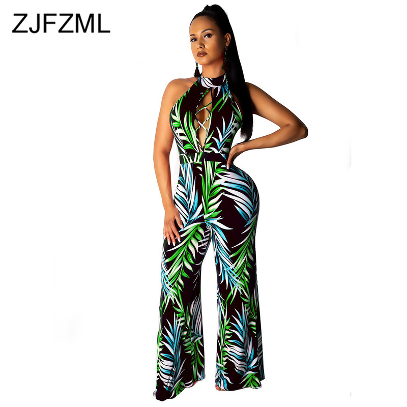 Leaves Print Sexy Beach   Jumpsuits   For Women Off Shoulder Backless Wide Leg Romper Summer Front Hollow Sleeveless Party Overall