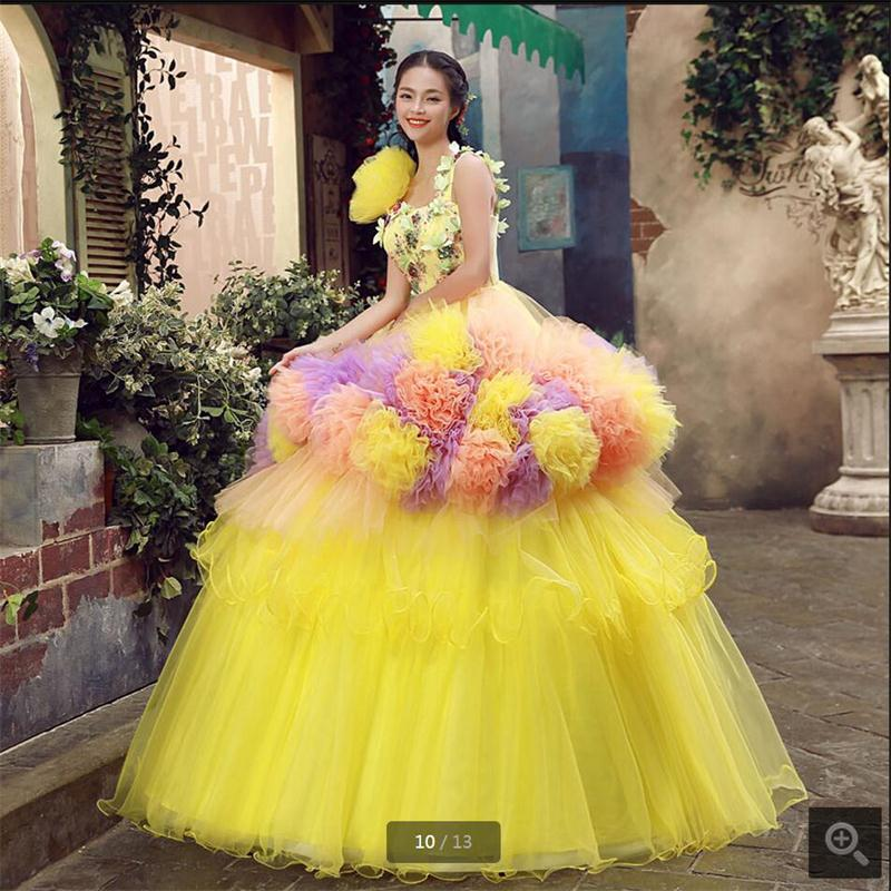 2017 princess yellow tiered tulle ball gown wedding