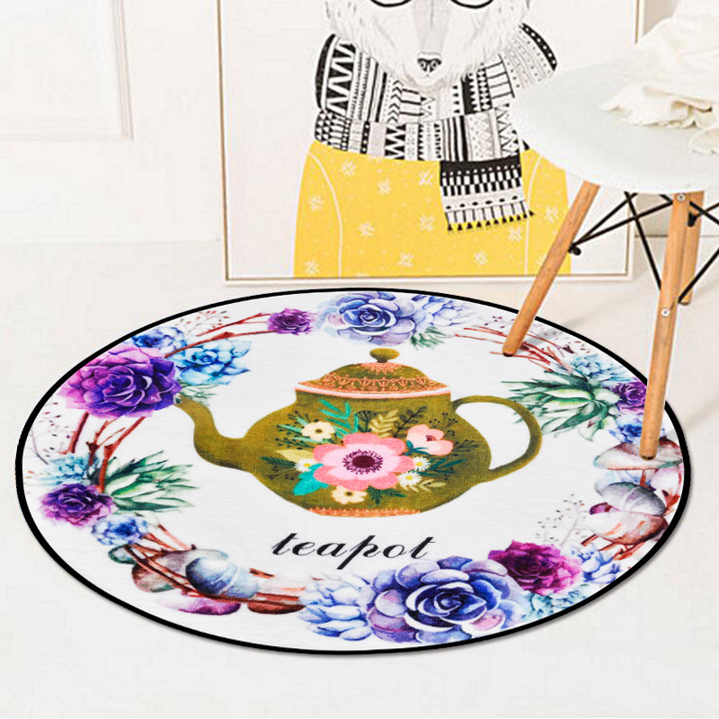 Chinese Floral Teapot Printed Circle Soft Carpet Bedroom Living Room Home Decor Round Kids Rug Thicken Non-Slip Design Floor Mat 1