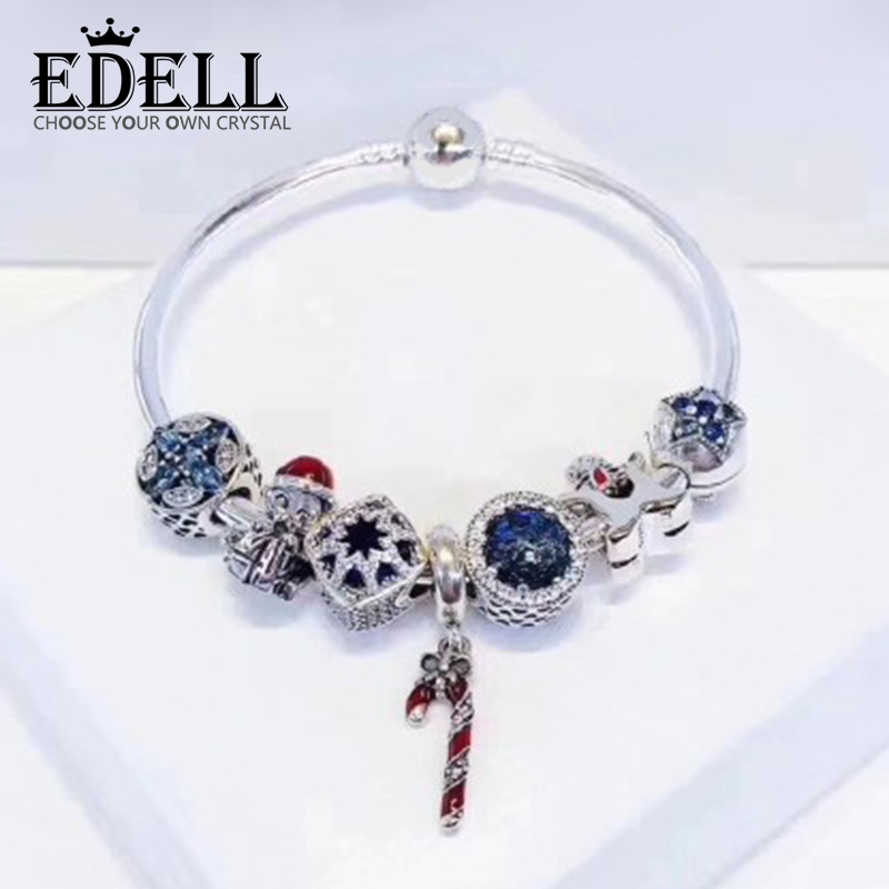 EDELL 100% 925 Sterling Silver Winter Christmas Bracelet Set Star Moon Cookies People Charm Women Charming Gift Original Jewelry charm moon 2015 100