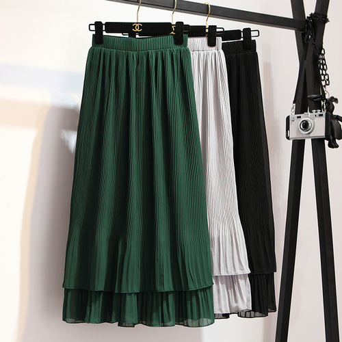 Stinlicher Korean Ruffles Maxi Skirt Pleated Chffion Long Skirts Womens Summer Style Gray Green Black Skirt