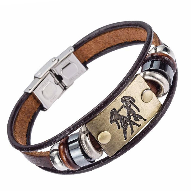Drop Shipping Hot Selling Europe Fashion 12 zodiac signs Bracelet With Stainless Steel Clasp Leather Bracelet for Men XY17018 4