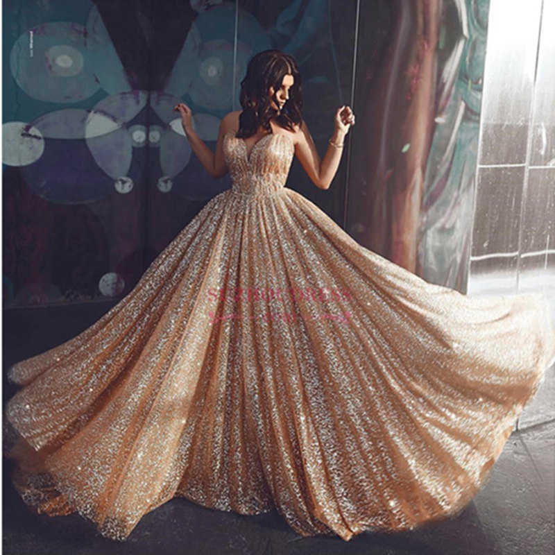 Charming Sparkly Long   Prom     Dresses   2019 Sexy V-Neck Backless   Prom   Gowns Illusion Spaghetti Strap A-Line Evening Party   Dresses