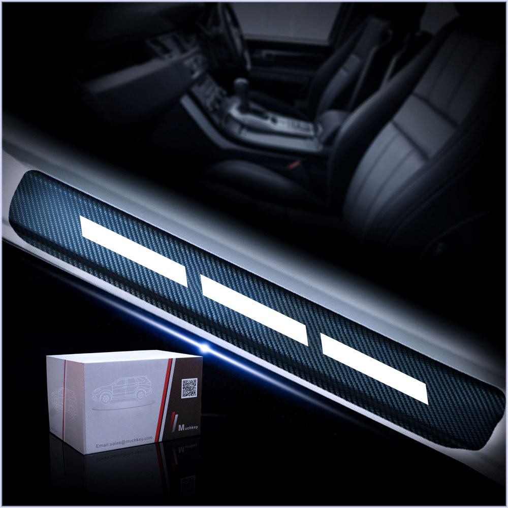 For Audi A1 A3 A4 A4L A5 A6 A6L A7 A8 S3 S5 S6 S7 S8 Q3 Q5 Q7 4D Carbon Fiber Reflective Car Door Sill Stickers Car-Styling 4Pcs