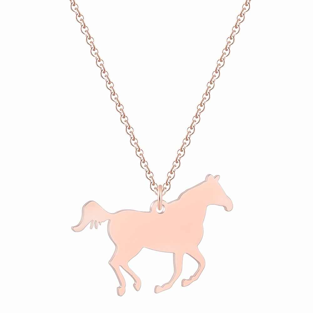 Run Animal Horse Necklace For Women Men Gold Silver Stainless Steel Jewelry Brand Ethnic Tibetan Choker Necklaces Gift
