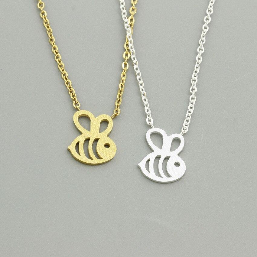 Wholesale 10pcslot Cute Bumble Bee Pendant Bff Necklace Women kids Jewelry Stainless Steel Gold Silver Ketting Honeybee Kolye