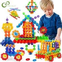 100 stücke Schneeflocke Multicolor Bausteine Spielzeug Ziegel Schnee DIY Block Montage Frühen Bildungs Lernen Spielzeug Für Kinder GYH