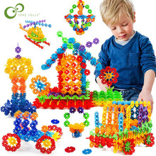 100pcs Snowflake Multicolor Building Blocks Toy Brick Snow DIY Block Assembling Early Educational Learning Toy For Children GYH