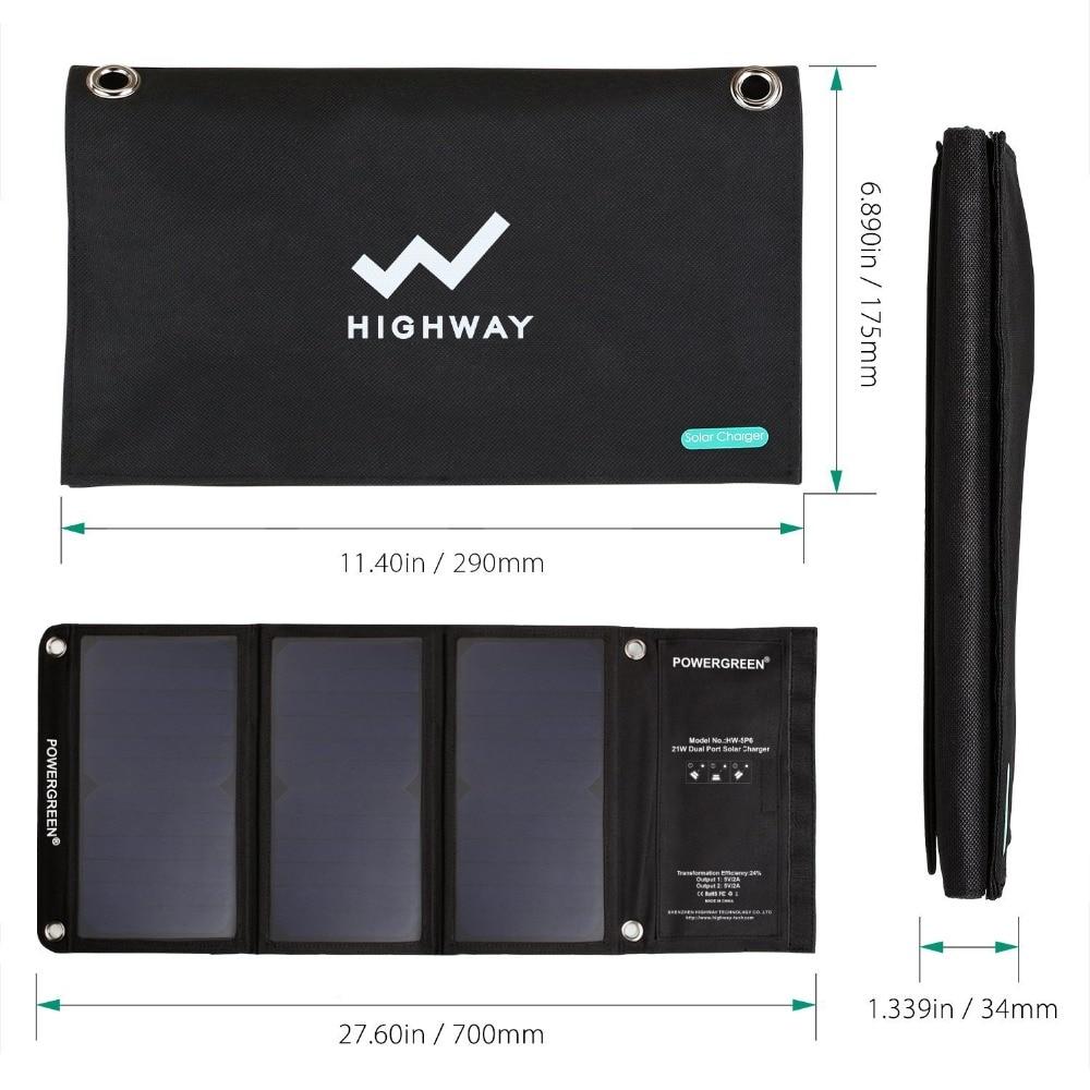 PowerGreen Solar Charger Panel Double Output 21 Watts Sammenleggbar - Tilbehør og reservedeler til mobiltelefoner - Bilde 2
