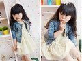 Free Shipping  2015 Hot Sale Fashion Autumn Spring Girls Cowboy O-Neck Lace Coat High Quality