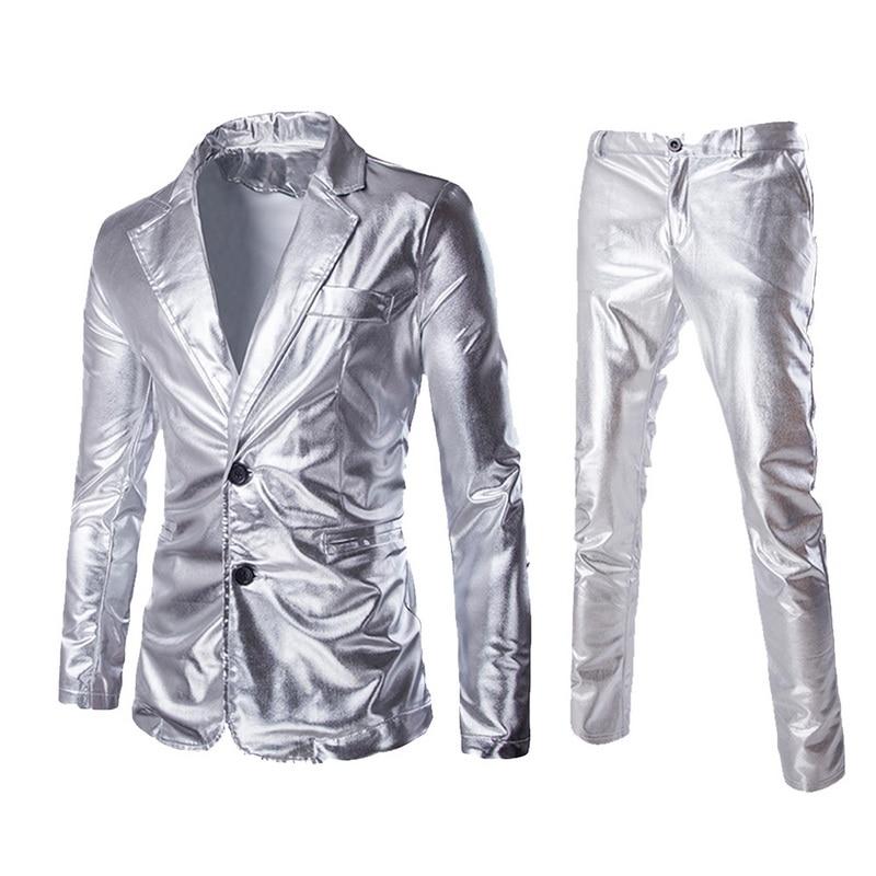 Suit-Sets Blazer-Set Dress Jackets--Pants Silver Gold Wedding Shiny Black Brand Coated
