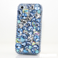 Luxury Girl Women Handmade 3D Blue Diamond Rhinestone Phone Cover Case For IPhone 4 4S 5