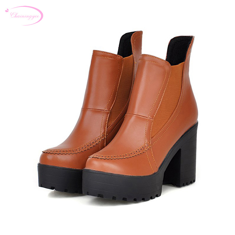 Chainingyee simple autumn comfortable ankle boot fashion stretch platform black yellow white high-heeled womens riding boots