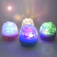 Romantic rose flower Rotating Projector sky projection lamp led night light star master USB Charging / Battery power