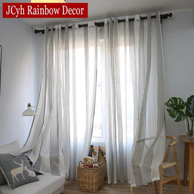 Japanischen Gestreiften Tüll Vorhänge Für Wohnzimmer Gardinen Für  Schlafzimmer Fenster Moderne Voile Leinen Vorhänge Stoffe Vorhänge