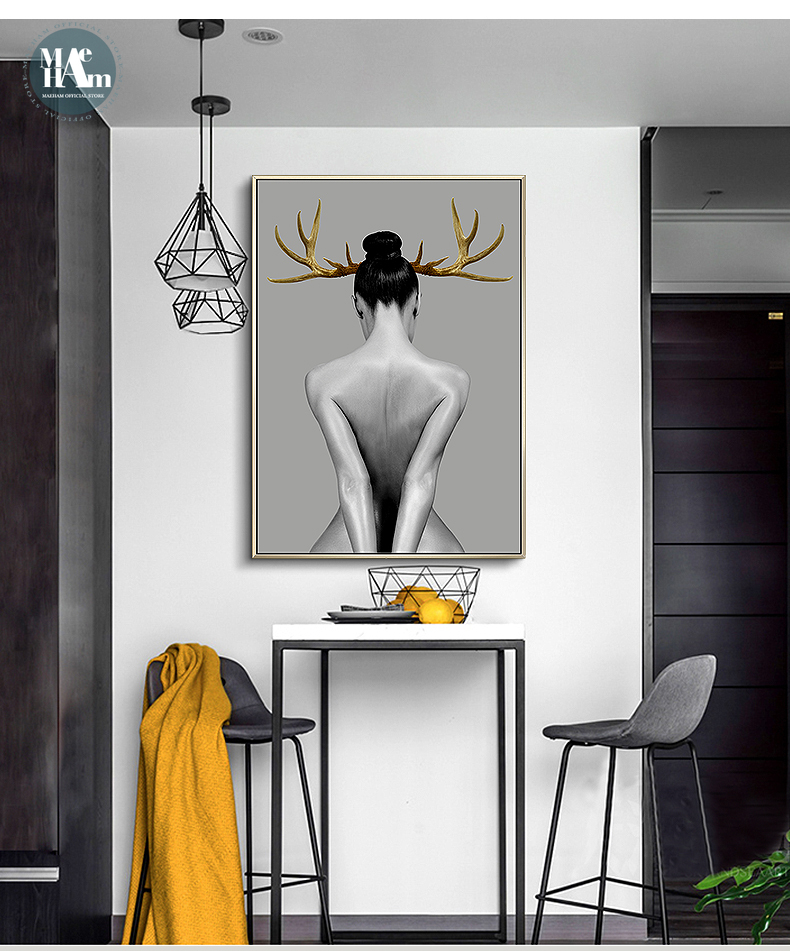 Nordic Antlers girls Figuars wall art Canvas Painting Prints Posters Black White Nude art Pictures for Nordic Antlers girls Figuars wall art Canvas Painting Prints Posters Black White Nude art Pictures for Living Room Morden Decor