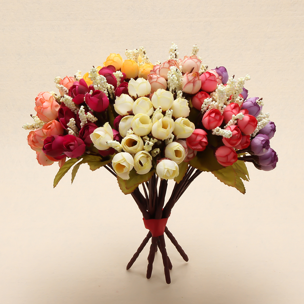 Colorful Silk Flowers Artificial Flower 15 Heads Mini Rose Home Decor For Wedding Small Roses