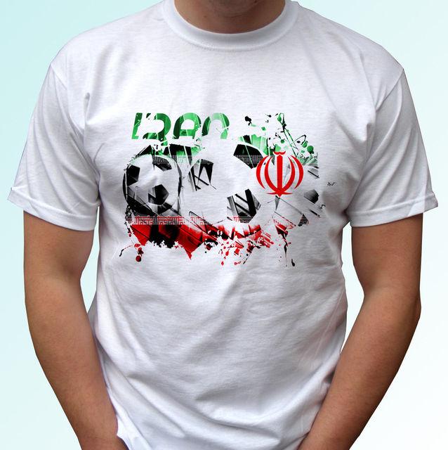 7759e1e0d Iran football flag white t shirt soccer style design mens womens kids Cool  Casual pride t shirt men Unisex New Fashion