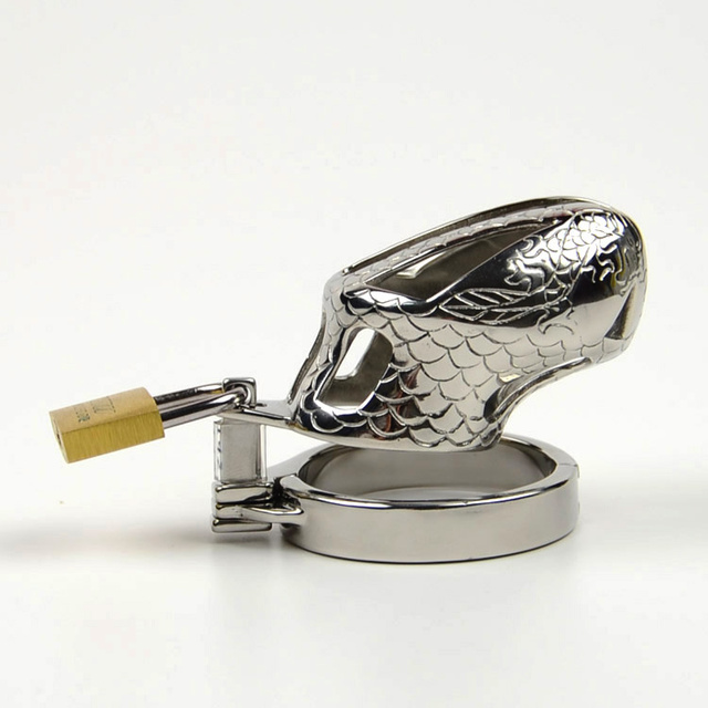 Corto para hombre de castidad / pene cinturón anillo de acero inoxidable Cock jaula de Metal Cock Lock Bondage BDSM adultos juega productos del sexo
